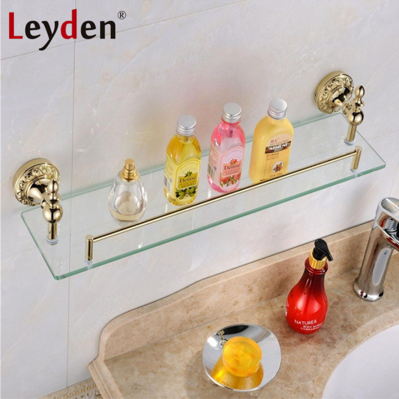 Leyden High Quality Luxury Solid Brass Gold Single Tier Toilet Glass Bathroom Shelf  Flower Carving Gold Base Bathroom Accessory