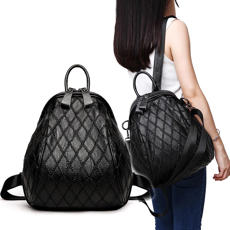 Shell-shaped Diamond Lattice Genuine Leather backpack fashion new wave Korean casual version of soft Calfskin casual travel bag globe shaped aluminum shell precise compass