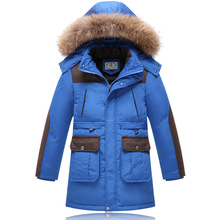 Fashion winter children's clothing male child ultra long wadded jacket outerwear medium-long thickening child down cotton coat