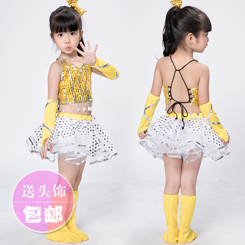 8a6a9fe78 modern jazz dance costume girl sexy sequin top salsa skirts hip hop dance  costumes kids cheerleader costume girl dance wear