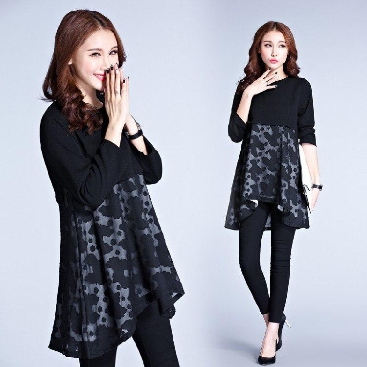 5xl plus big size women clothing dress 2016 spring autumn korean vestidos  splicing loose long sleeve 443274647e6d