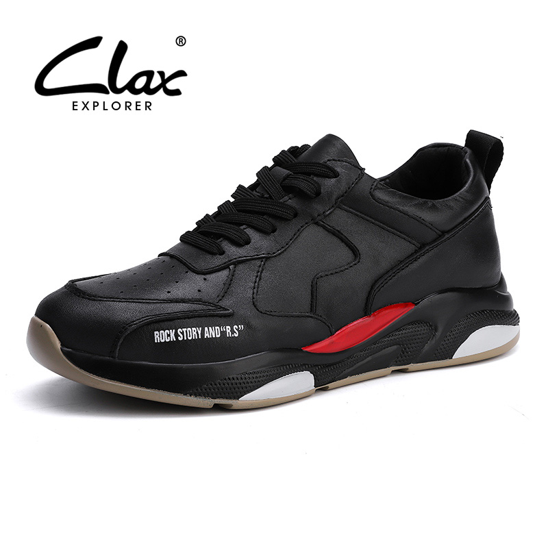 CLAX Mans Leather Sneakers Fashion Genuine Leather Male Leisure Shoes Mens Walking Footwear Soft
