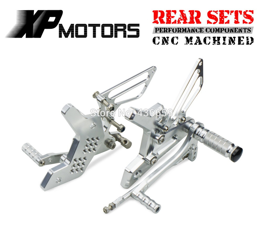 Race CNC Motorcycle  Foot Control Kit Adjustable Foot Pegs Rear Sets For  Kawasaki Z 750 Z750 2004 2005 2006 Silver