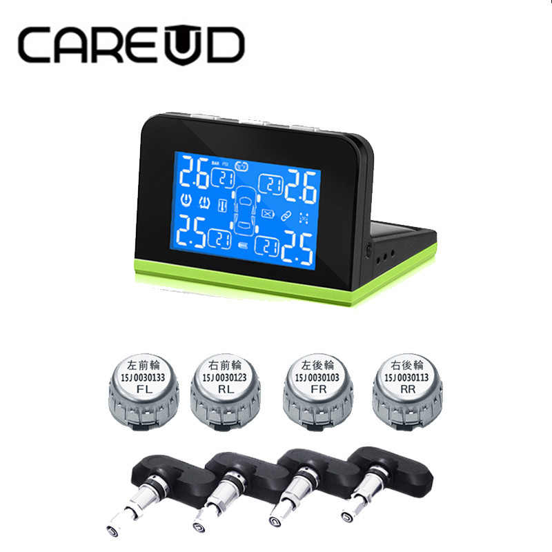 CAREUD Car Wireless Solar Energy TPMS Tire Pressure Monitoring System Auto Alarm with 4 sensors For peugeot toyota and all cars tpms tp620 car tire tire pressure alarm car tire diagnostic tool support bar and psi tire pressure monitor car electronics