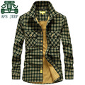 AFS JEEP Winter New Brand Thickness Shirt For Men,s Casual Plaid 100% Cotton Younger Shirt.Plus Size Man's Cashmere Inner Warmly