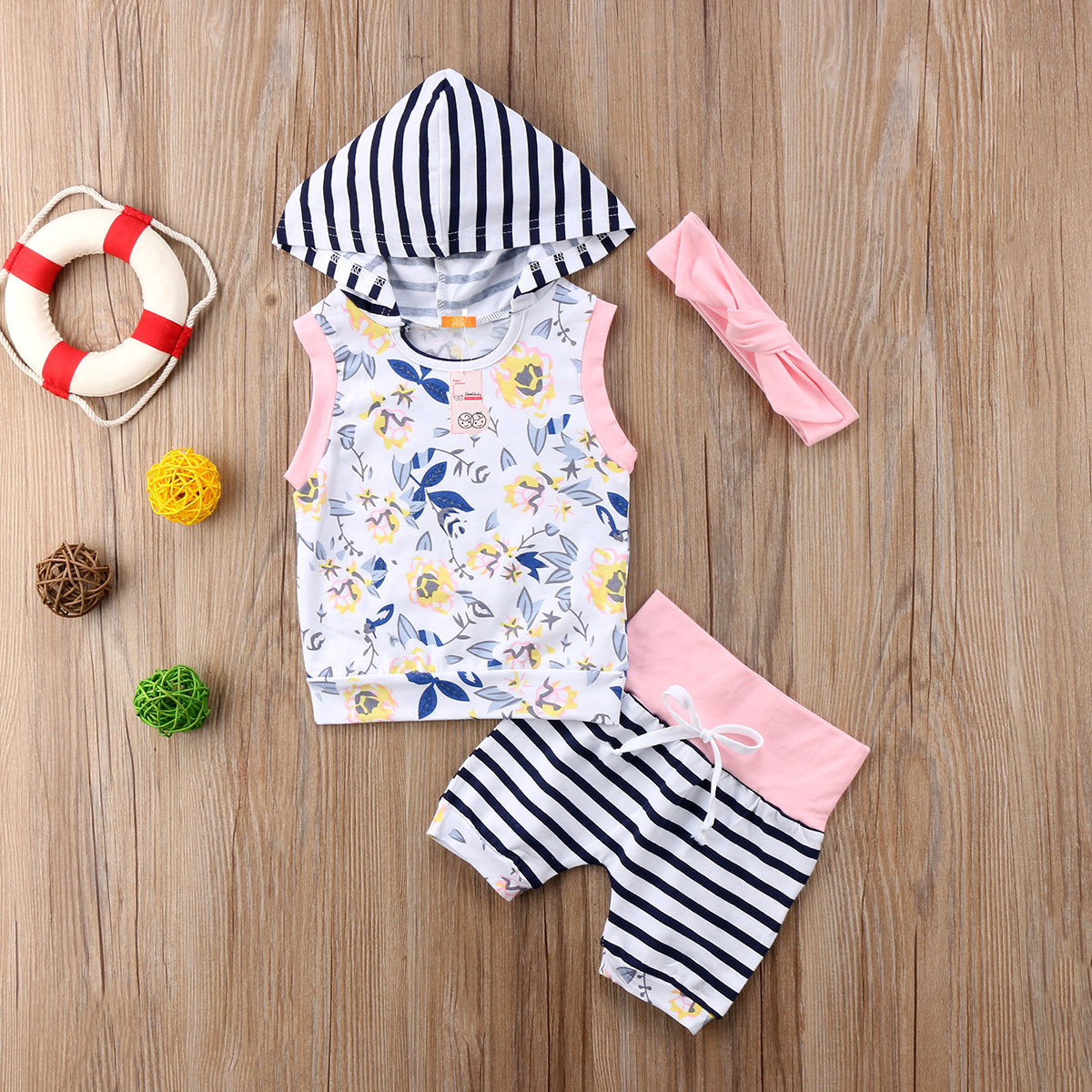 Summer new casual Newborn Infant Baby Kid Girls sleeveless Floral printed striped patchwrok hooded tank top +shorts Outfits Set
