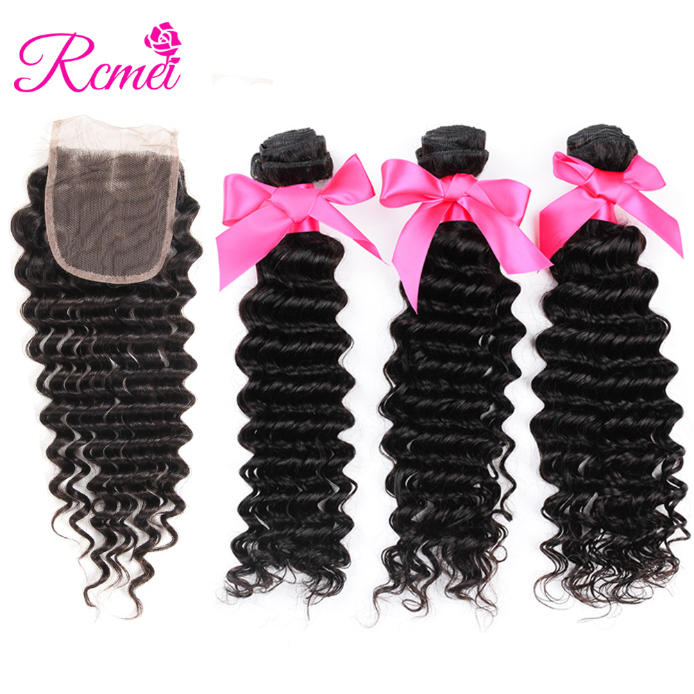 Rcmei Hair Products Indian Deep Wave With Closure Non Remy Hair Weft Weave 3 Bundles Human Hair Bundles With Lace Closure