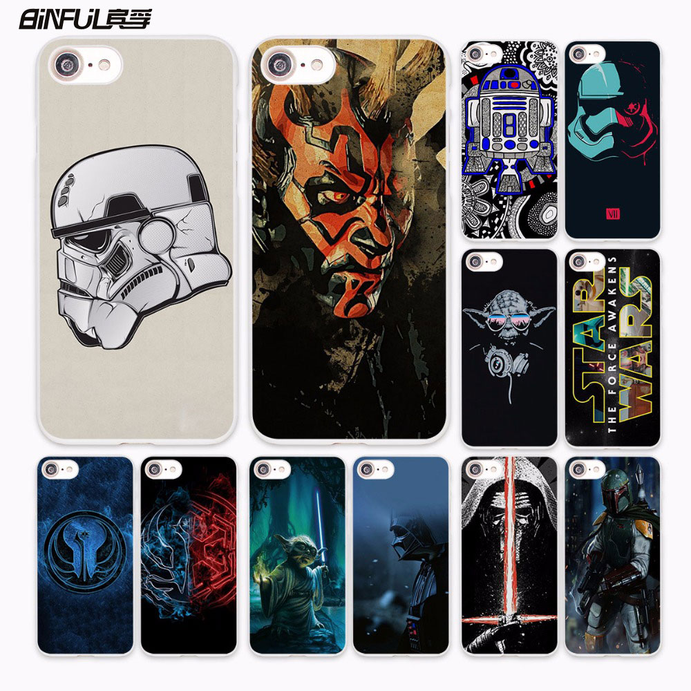 BiNFUL Star Wars Art Stormtrooper yoda DJ design hard White Case Cover for Apple iPhone 7 6 6s Plus SE 5 5s 5C 4 4s phone case