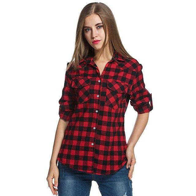 20# Women Blouse Shirt Tartan Plaid Flannel Shirts Roll Up Sleeve Casual Tops Button Down Blouse Blusas Femininas De Ver O 2019 1