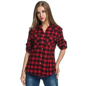 20# Women Blouse Shirt Tartan Plaid Flannel Shirts Roll Up Sleeve Casual Tops Button Down Blouse Blusas Femininas De Ver O 2019