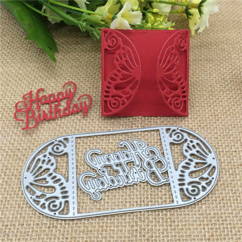 Butterfly card frame happy  birthday Metal Cutting Dies Stencil Scrapbooking Photo Album Card Paper Embossing Craft DIY