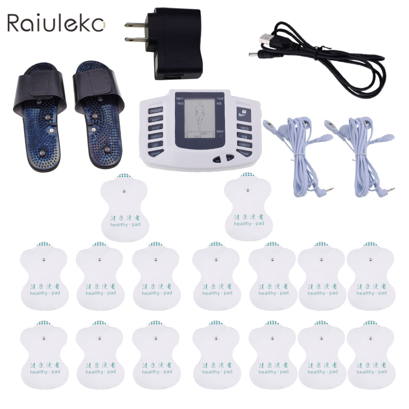 Electric Massager  Stimulator Full Body Relax Muscle Therapy Massage Machine Pulse Tens Acupuncture Electrode Pads Body Massager electric stimulator full body relax muscle therapy massager pulse tens acupuncture foot neck back massage slimming slipper 8 pad