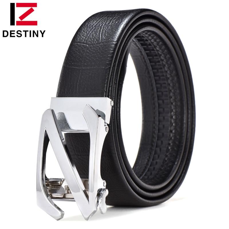 DESTINY Men Belt Luxury Famous Brand Logo Designer Belts Male Genuine Leather Strap Waist Wedding Jeans Gold Silver Z Cowather