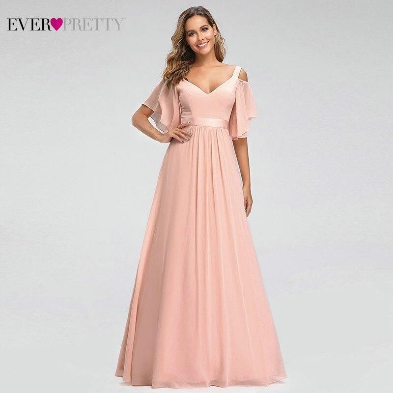 Ever Pretty robes de demoiselle d'honneur rose a-ligne v-cou hors de l'épaule élégantes robes longues pour la Robe Mousseline de soirée de mariage 2019