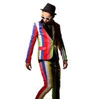 Tailor made Colors Stripe Suits Men Fashion Slim Fit Casual Blazer Coat + Pant Sets Male Stage Show Hip hop Suits Costumes