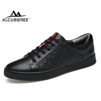 ALCUBIEREE Brand Mens High Quality Skateboarding Shoes Genuine Leather Sneakers Breathable Trainers Shoes for Men Black White
