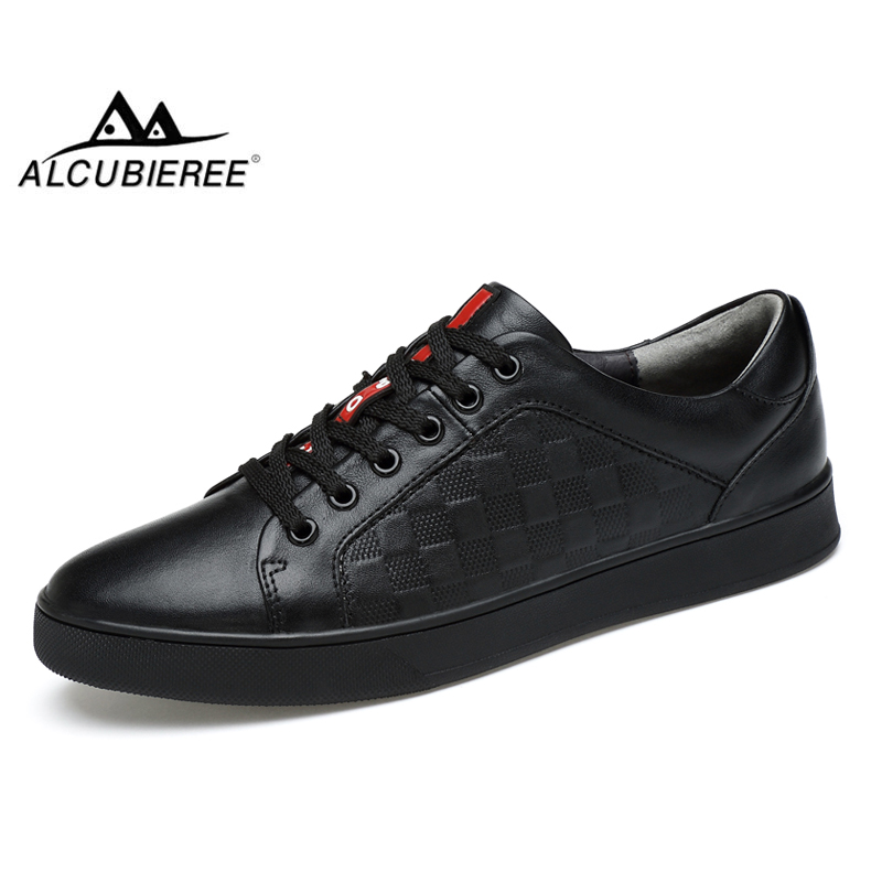 ALCUBIEREE Brand Mens High Quality Skateboarding <font><b>Shoes</b></font> Genuine Leather Sneakers Breathable Trainers <font><b>Shoes</b></font> for Men Black White