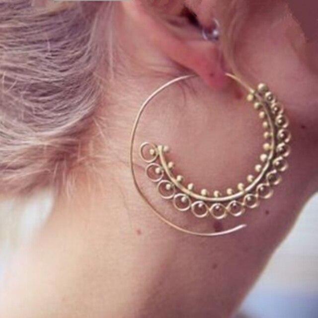 E0450 Ethnic Jewelry Gold Color Swirl Hoop Earrings For Women Geometric Big Circ