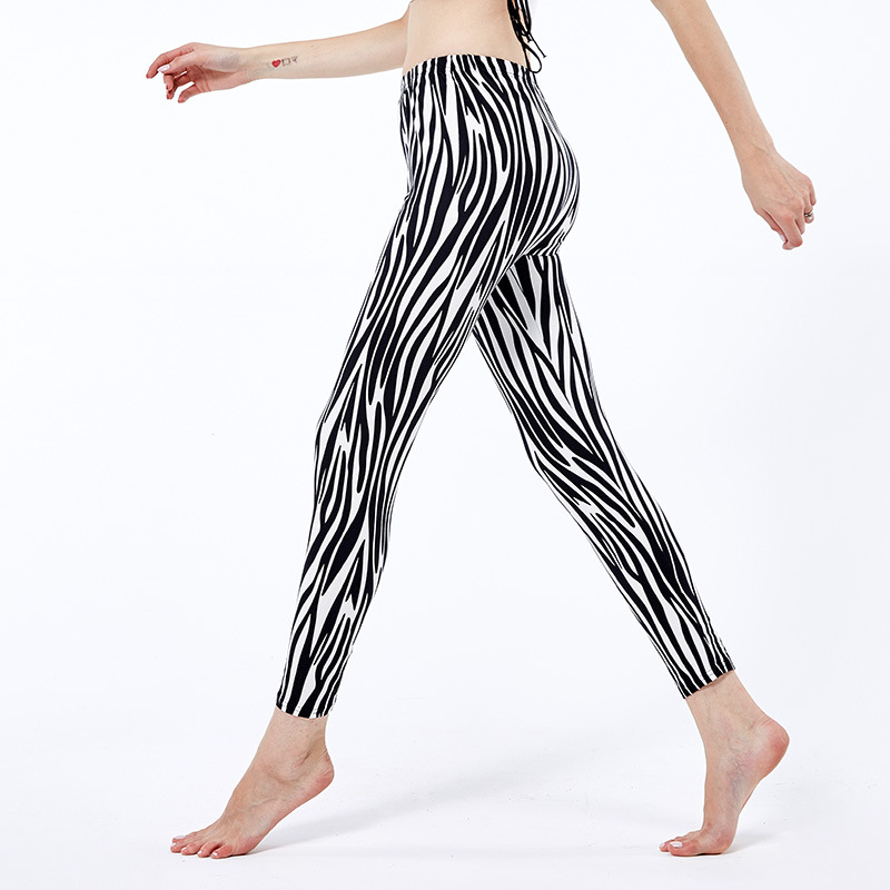 Attractive Vogue Mushy Black White Zebra Striped Girls Leggings Stripes Halloween Printed Leggings For Women Punk Pants Legins Girls