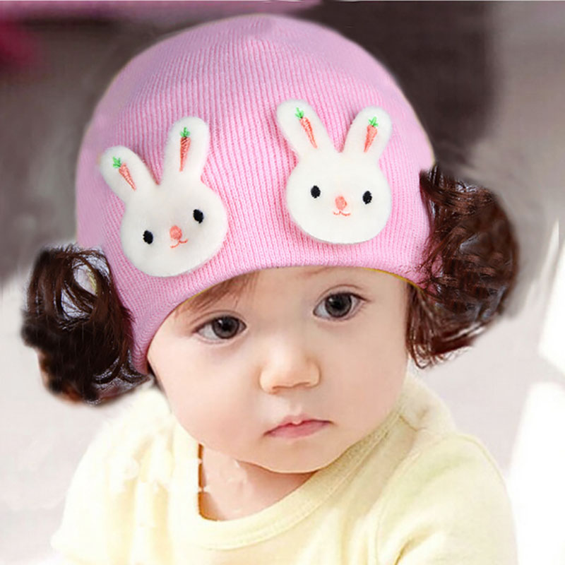 Baby hats Newborn Baby Girl Hat Cap Winter Baby Girls Warm Knit Beanie Hats with Plait Cartoon Infant Caps