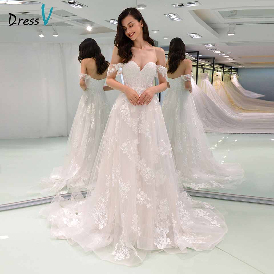 Dressv Legant Wedding Dress Off The Shoulder Lace Zipper Up A Line Floor Length Bridal Outdoor&church Wedding Dresses