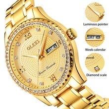 אמיתי OLEVS Mens זהב שעוני יוקרה קוורץ יהלומי שעון אוטומטי לוח שנה תצוגת גברים מלא פלדת שעון יד relogio masculino