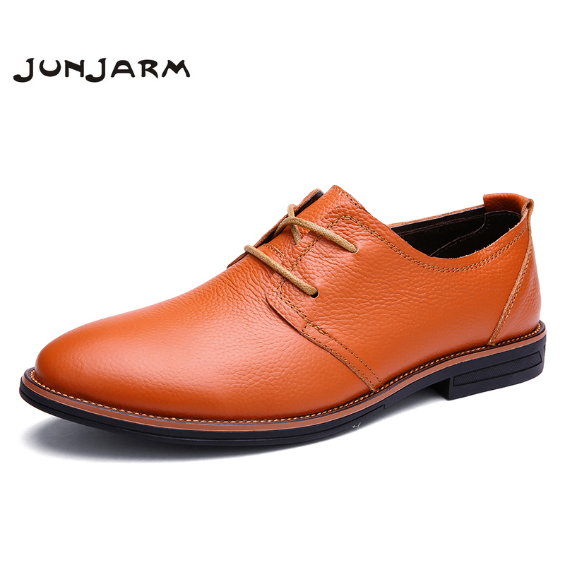 JUNJARM 2017 New Arrival Mens Formal Shoes Genuine Leather Dress Shoes Brand Men Oxford  ...