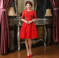شنغهاي قصة الأحمر العروس قصيرة فساتين الزفاف الصينية التقليدية للحزب فتاة النساء أزياء الملابس النسائية