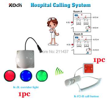 Nurse call system K-F2-H installed on each patient bed and room light with 3 color to show and alert for nurse from outs