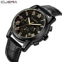 Relogio Masculino CUENA Black Men Watches Top Luxury Popular Brand Watch Man Quartz Gold Watches Clock