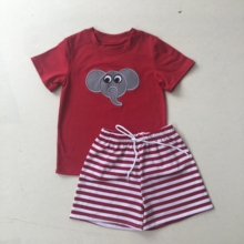 Puresun Boutique Outfit Football Design Boy Cotton Toddler Summer Clothing Elephant Applique Top Striped Shorts