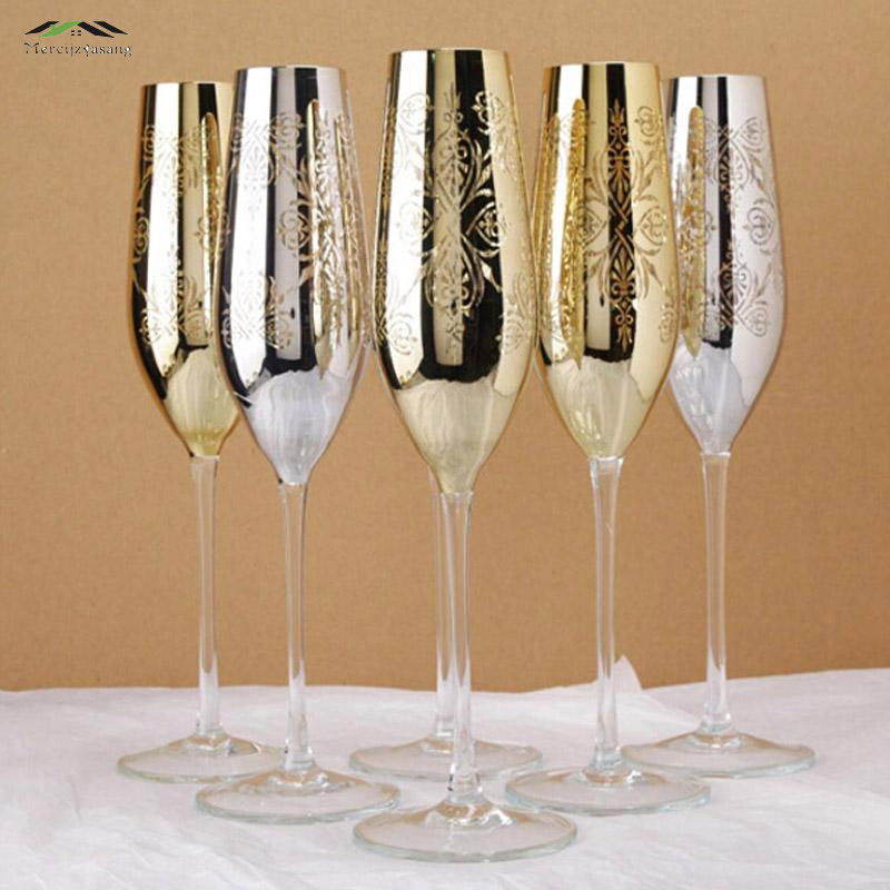 Gloss metal champagne flutes 22k gold finish Crystal for wedding/party red wine glass of brandy goblet glasses taza de vidrio