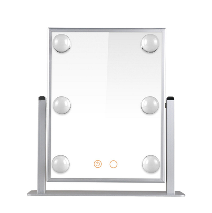 6 Led bulbs makeup mirror Smart touch screen vanity aluminum mirror Hollywood-style makeup mirrors6 Led bulbs makeup mirror Smart touch screen vanity aluminum mirror Hollywood-style makeup mirrors