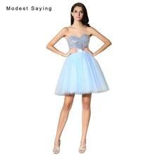 6cc6c1f8a Sexy plata y azul balón vestido de novia corto lentejuelas Vestidos de  fiesta 2017 formal Niñas mini 8th grado vestidos de gradu.