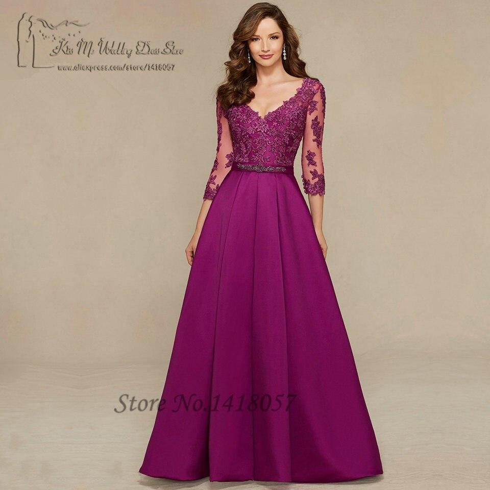 Robe de Festa Longo violet femmes robes formelles longues robes de soirée mère dentelle 3/4 manches Satin col en V dos perles robe de bal