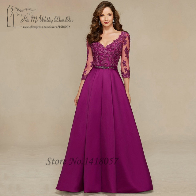 a95f5a556b4dc Vestido دي فيستا لونغو الأرجواني النساء الرسمي فساتين السهرة الطويلة الأم  أثواب الرباط 3 4