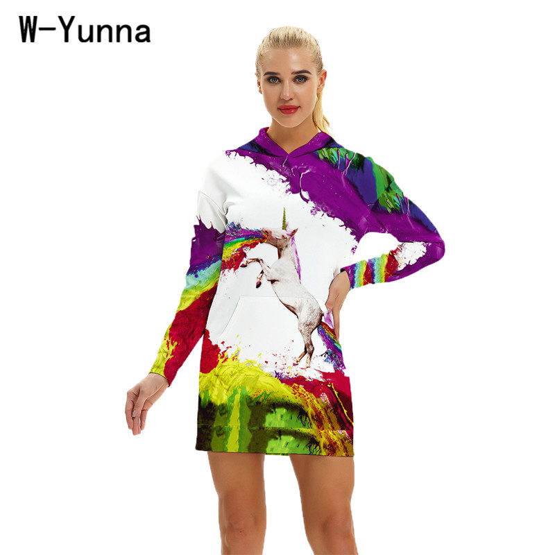 W-Yunna 2018 New Rainbow Horse Print Hooded Dress Women Autumn Thick Vestidos Women Loose Streetwear Drawstring Dresses Hoody