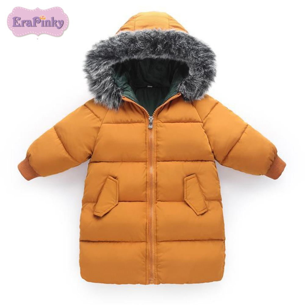 Erapinky 2018 Thick Winter Down & Parka Jacket For Kids Boys Girls Clothes Warm Outerwear With Fur Hooded Coats Children Jacket 2018 girls clothing warm down jacket for girl clothes 2018 winter thicken parka real fur hooded children outerwear snow coats