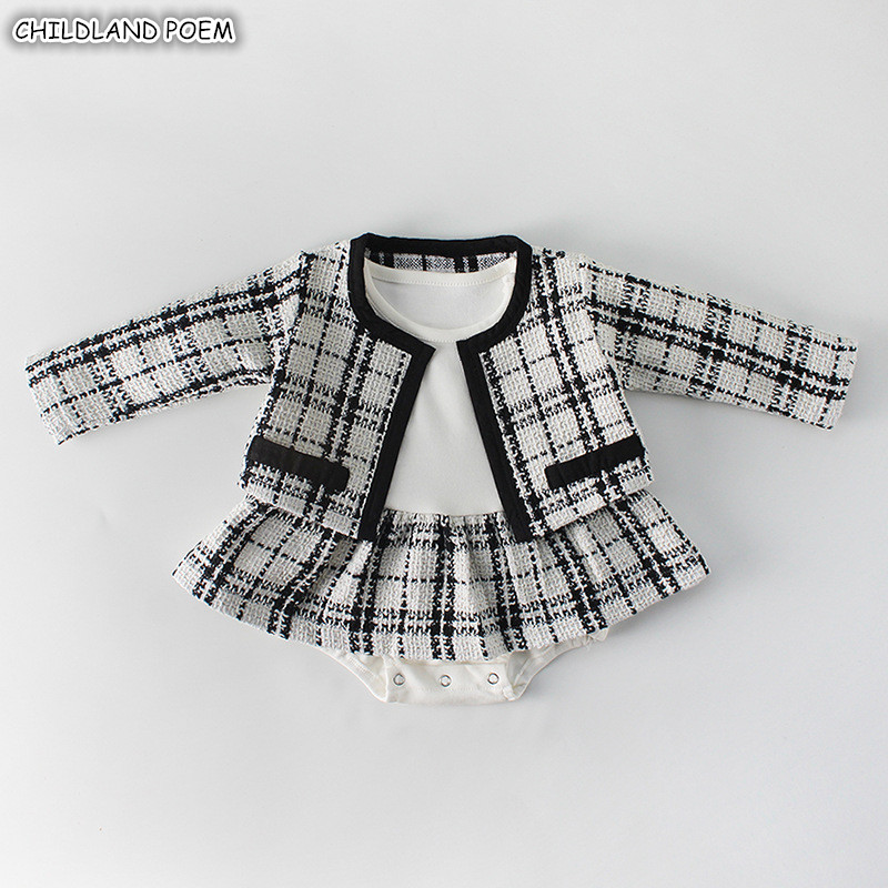 Newborn Baby Girl Clothes Autumn Spring 2019 Baby   Rompers   For Girls Plaid Princess Christmas Baby Clothes Set   Romper  + Jacket 2pc