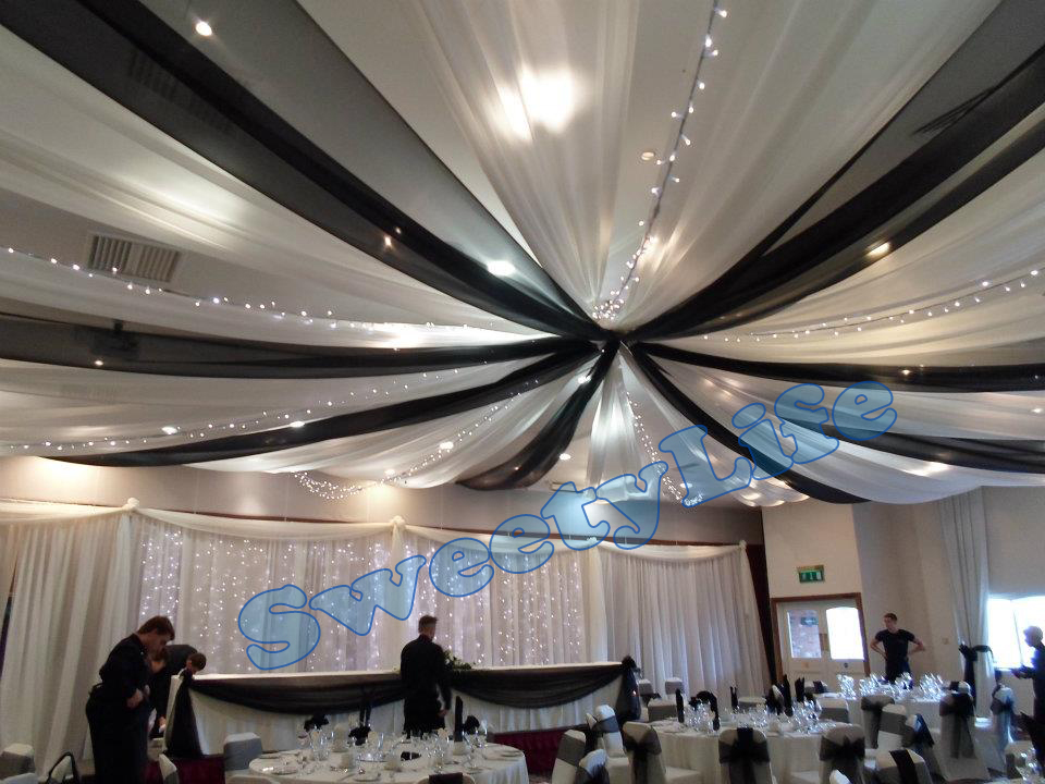 Wedding 12 pieces Ceiling Drape Canopy Drapery for decoration color mixture Roof decoration Banquet supply