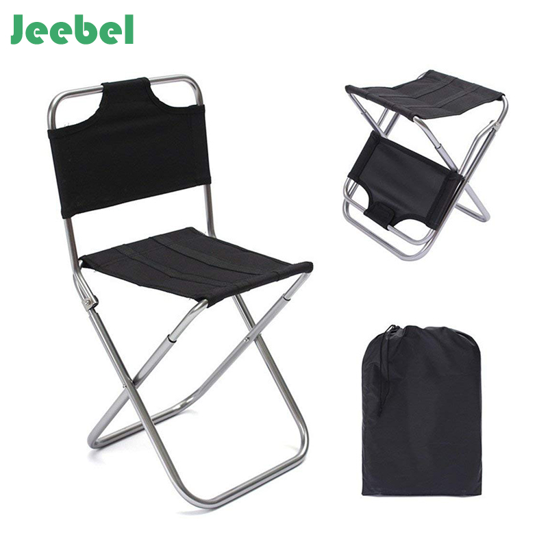 Jeebel Lightweight Outdoor Fishing Chair Portable Aluminum Alloy Oxford Cloth Black Folding Chair Ca