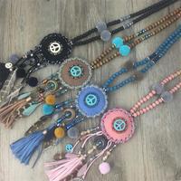 2016 New Boho Bohemia Handmade Tauren Tassel Pendants Necklace Turquoise Stone Pendants Wood Bead Cord Necklace