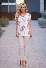 цены на Sexy Print Flowers Summer T-Shirts Women O-Neck Short Sleeve Pullover Ladies T Shirts Plus Size 3XL Female Tops Tees T-Shirt  в интернет-магазинах