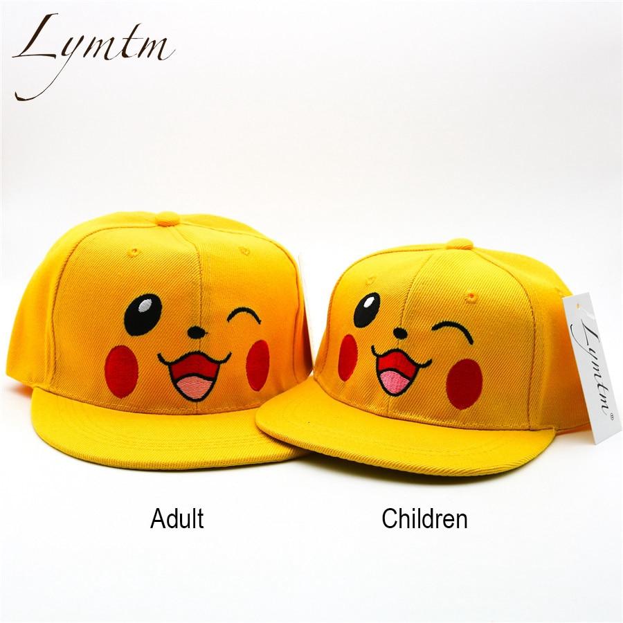 [Lymtm] 2018 Harajuku Pikachu Embroidery Snapback Hat Women Men Cartoon Parent Child Yellow Adjustable   Baseball     Cap