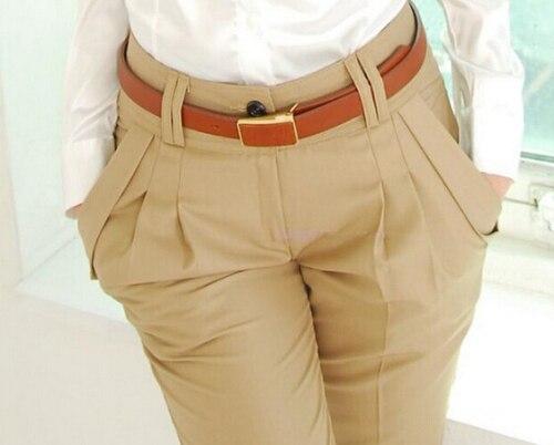 Nova Moda Primavera Verão Outono Mulheres Calças De Cintura Alta Calça Casual Senhoras Elegantes Silm Plus Size Calças Mulheres
