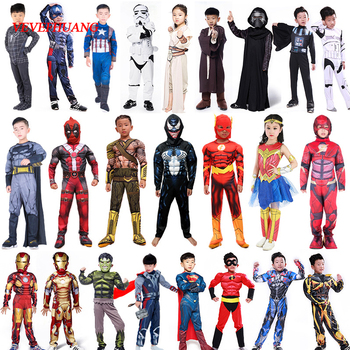 Spiderman Superman Iron Man Cosplay Costume per I Ragazzi di Carnevale Costume di Halloween per I Bambini Star Wars Deadpool Thor Ant uomo Panther