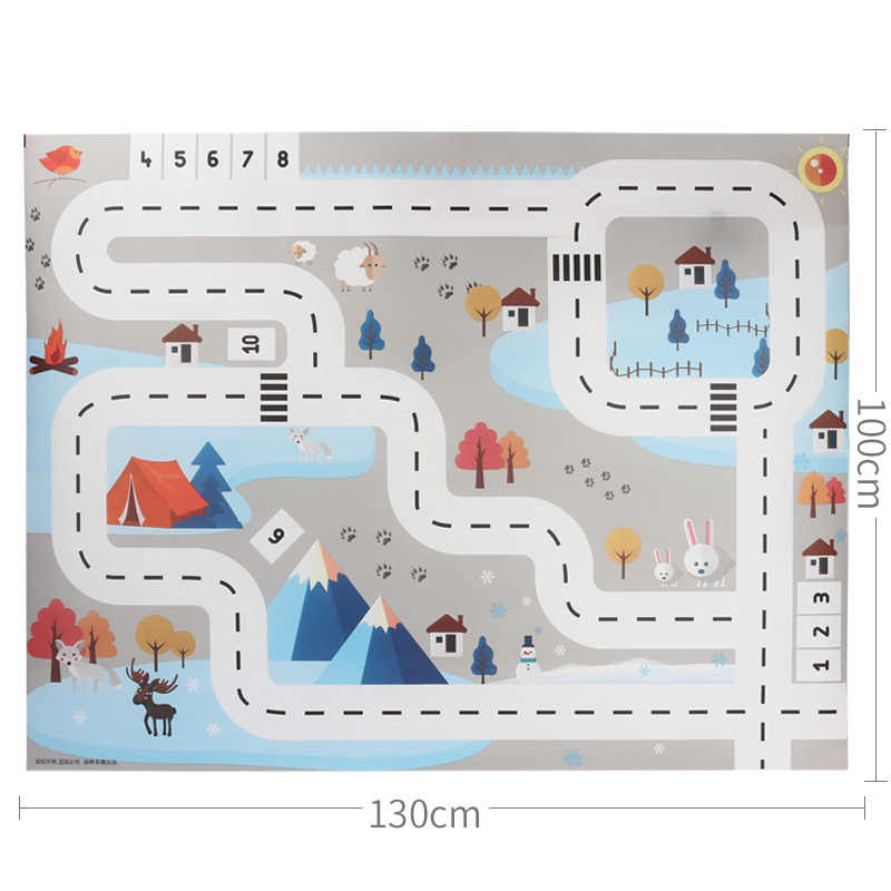 130*100CM Portable Car City Scene Traffic Highway Map Play Mat Educational Toys For Children Games Road Carpet Car Accessories