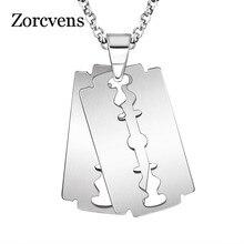 Zorcvens blade colar masculino jóias na moda prata-cor navalha pingente colar presente para homem