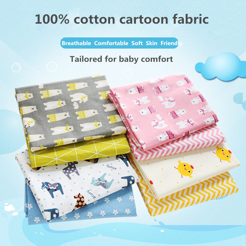 100x160cm/piece 100% Cotton Fabric,Handmade Cloth For Pillow Cover DIY Sewing Will Bedding Quilt Children Cartoon Baby Bed Sheet