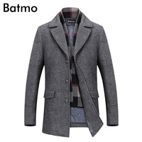 Batmo 2018 new arrival winter high quality wool casual gray trench coat men,men's winter warm coat,winter jackets men 823